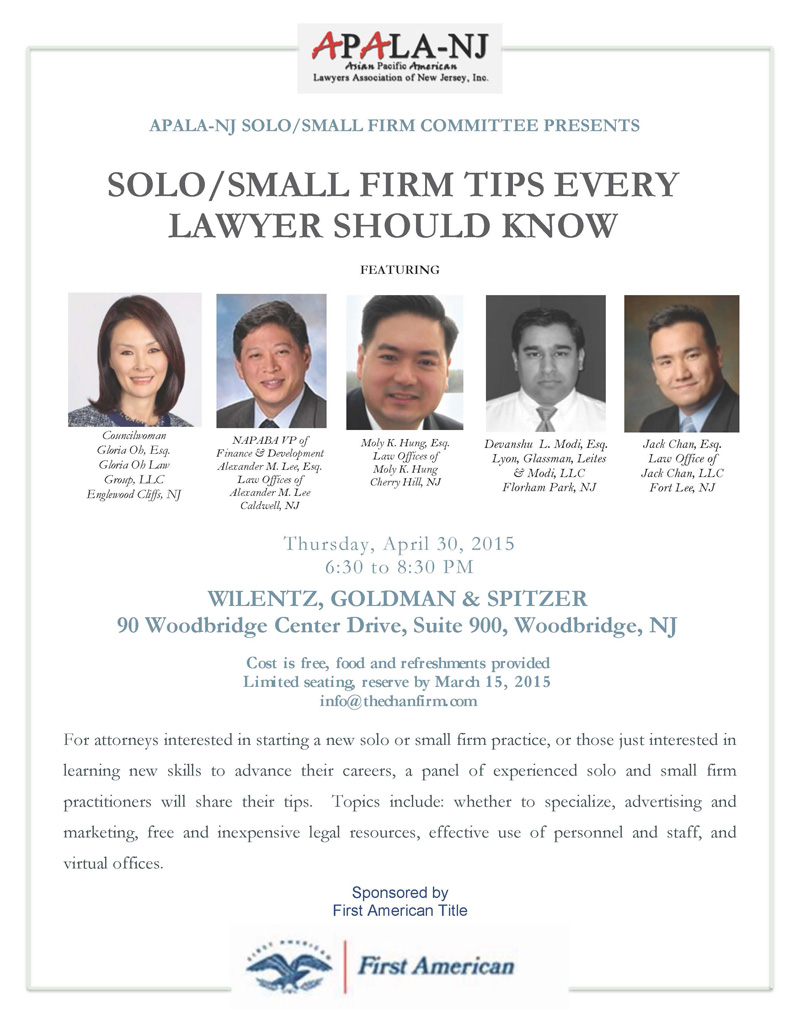 Solosmall Firm Tips Every Lawyer Should Know Apala Nj