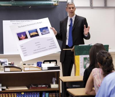 rne Duncan teaches a class at Falls Church High School