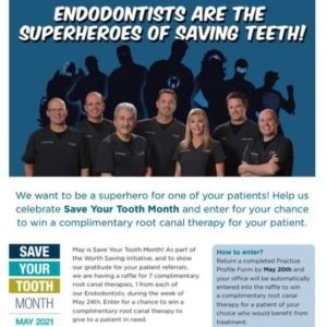Screenshot of a webpage. Header image features the six Commonwealth Endodontics team members with superhero shadows behind them. Headline reads: Endodontics are the superheros of saving teeth!