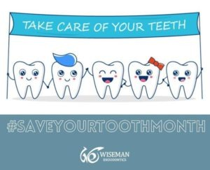 Cartoon image of five happy smiling teeth holding a blue banner that says: Take care of your teeth