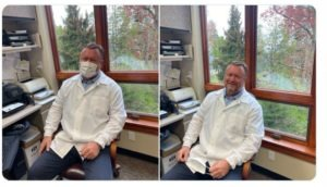 Side by side images of Dr. Kass: in one he is wearing a mask; in the other he is smiling. He is sitting at a desk with a number of office supplies in front of a window that looks out into trees