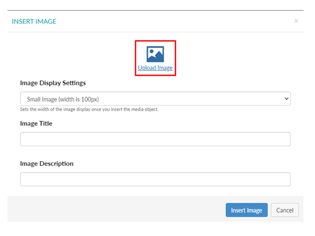 Select the Upload image icon