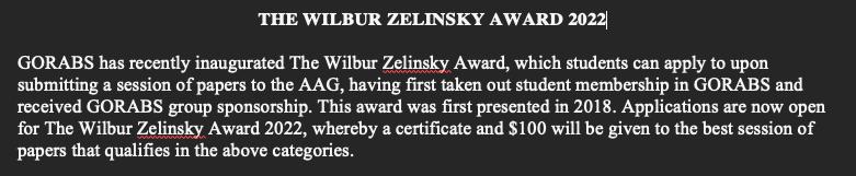 Announcement of 2022 Wilbur Zelinsky Award