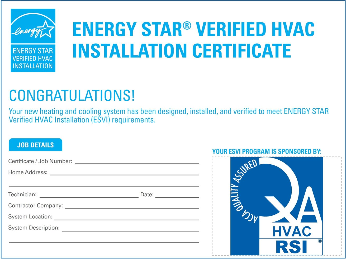 Existing homes program acca the energy star verified hvac installation esvi certificate stands on that brand recognition and adds xflitez Choice Image