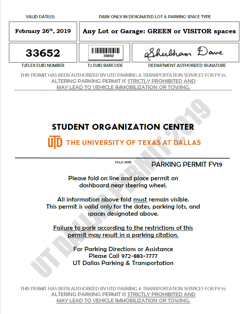Parking Pass for UT Dallas