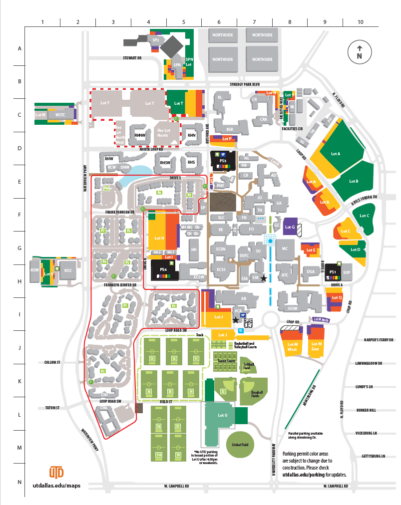 UT Dallas Parking Map (Park inside Green Lots)