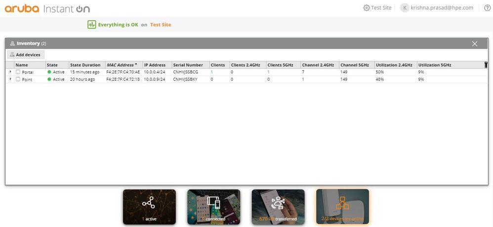 Everything on Inventory page in AIO web portal