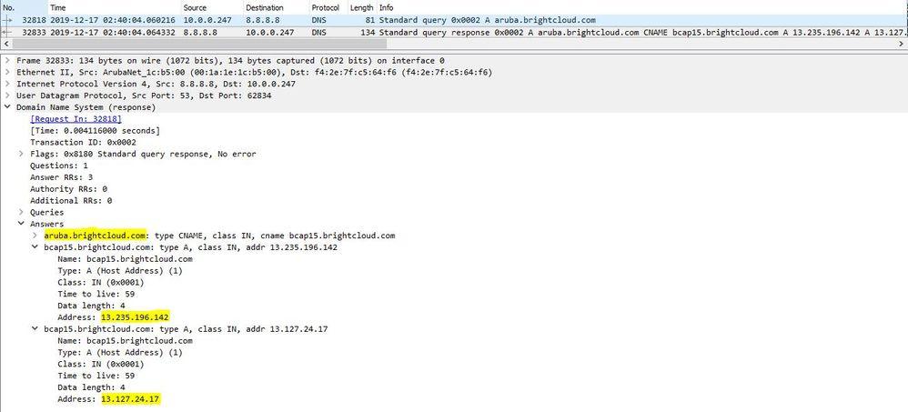 AP resolving IP address of aruba.brightcloud.com
