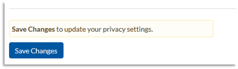 Screenshot of Save Changes button at bottom of Privacy Settings webpage