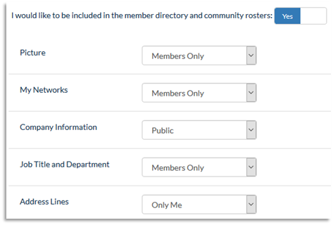 Screenshot of Privacy Settings for information including Picture, My Networks, Company Information, and others