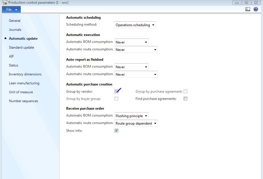 Production control parameter group by vendor