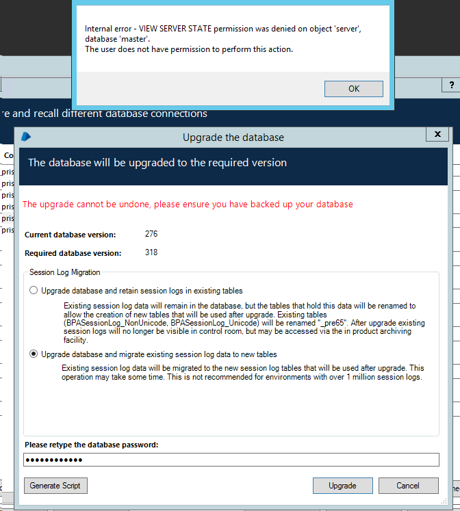 DB Upgrade 6 4 2 -> 6 5 VIEW SERVER STATE permission was