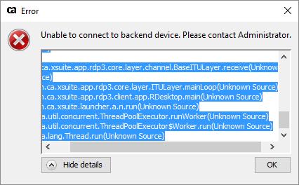 Error RDP connection.