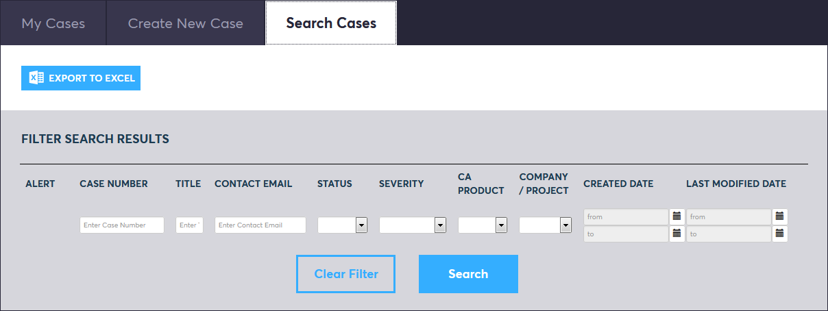 CA incident management - 'search cases' screen
