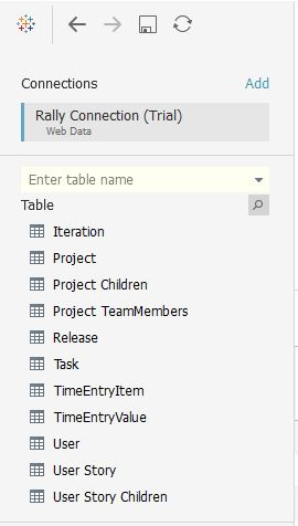 Rally Web connector Tables