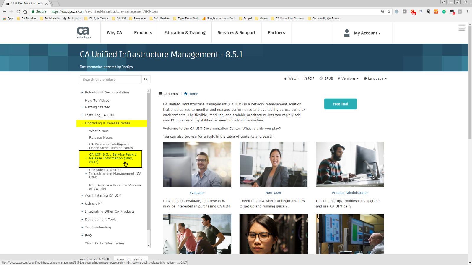 CA UIM 8.5.1 Documentation Home Page