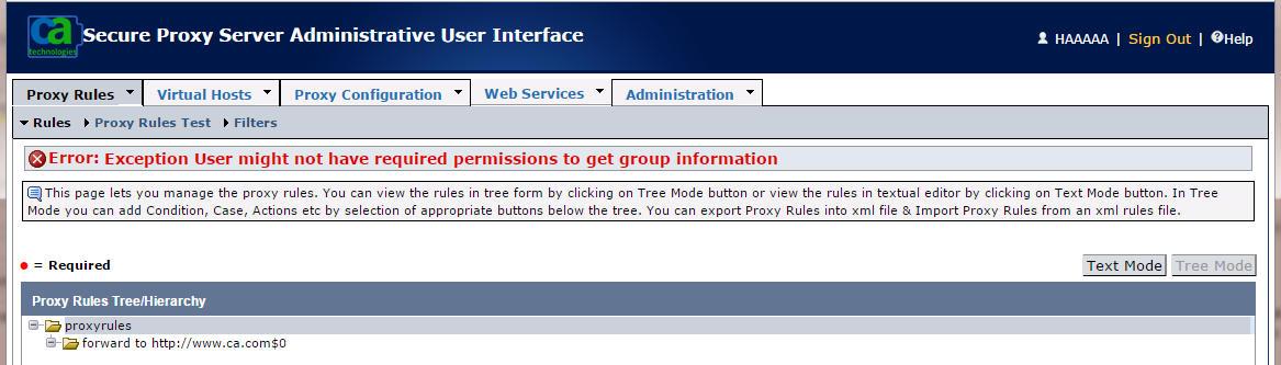Cannot manage Secure Proxy Server   Layer 7 Access Management