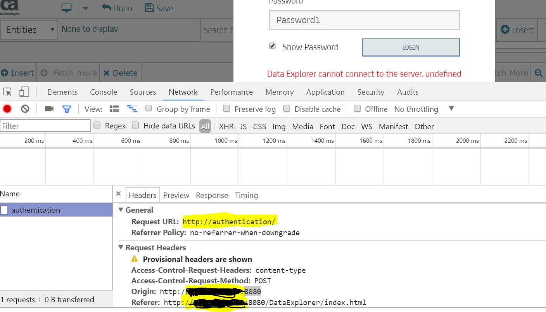 Lac Data Explorer Authentication Error