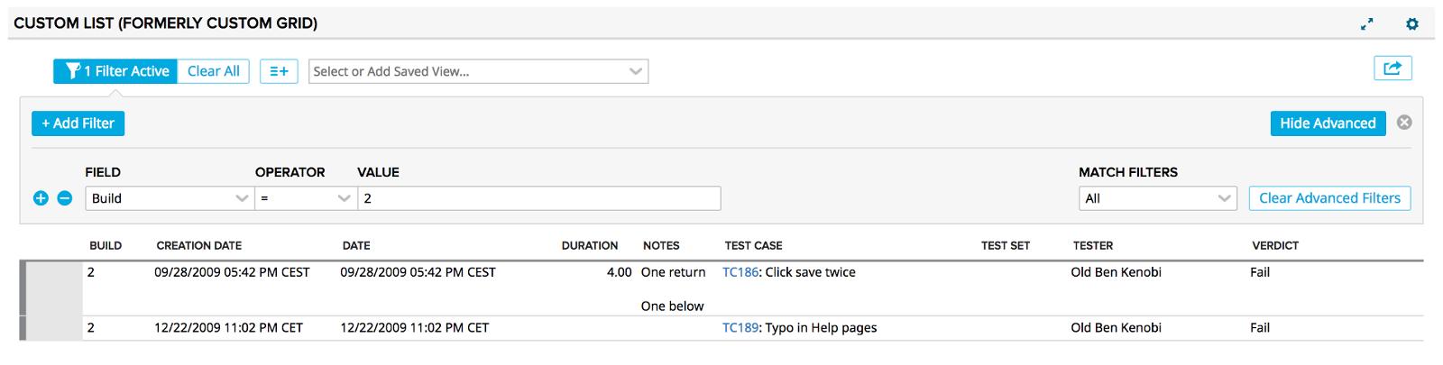 Custom List - Test Case Results