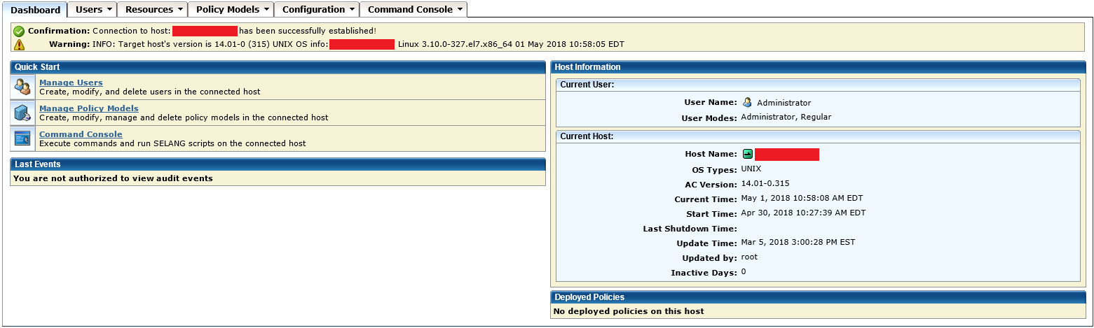 Endpoint Management GUI for a user who is an Administrator