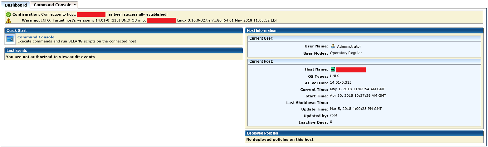 Endpoint Management GUI for a user who is an operator