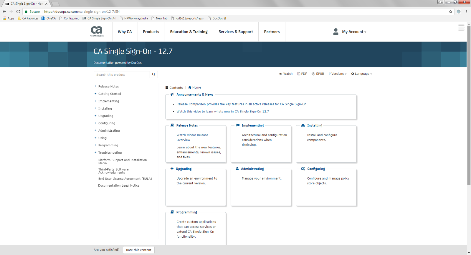 CA SSO12.7 documentation home page