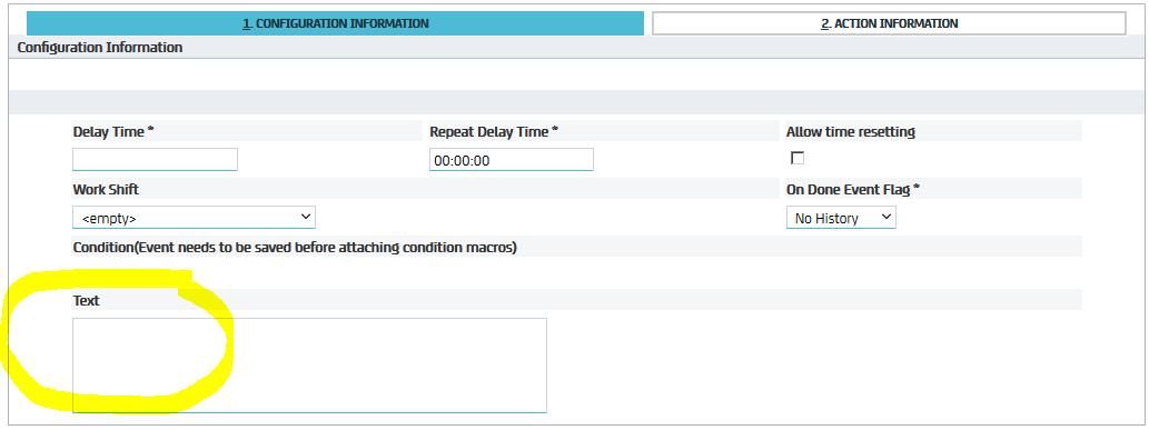 Event configuration tab