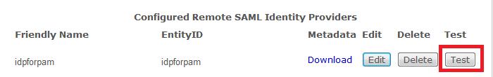 IdP Test button
