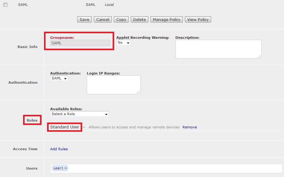 SAML user group details