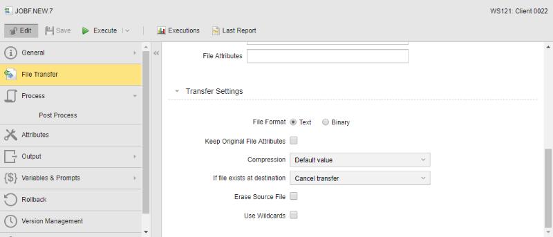 """Transfer Settings"" settings of a JOBF"