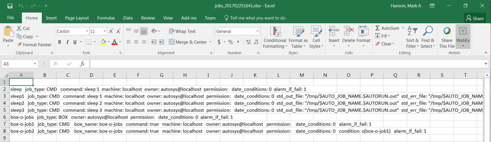 Export job definitions to Excel | Workload Automation1
