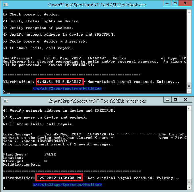 Before and after change the MSG_TIMESTAMP_FORMAT parameter value