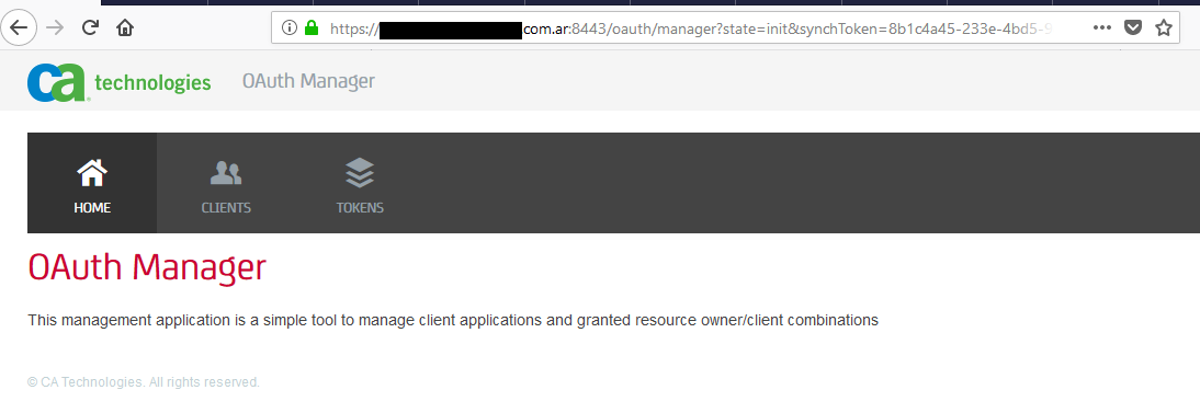OAuth Manager Main Page