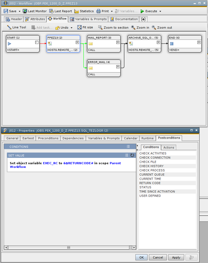 Automic 10 Workflow and postcondition