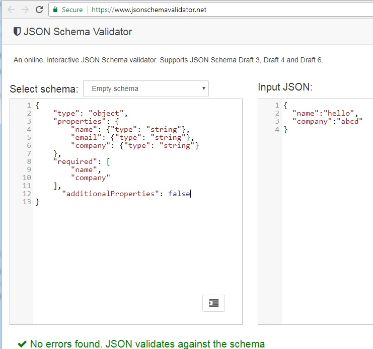JSON Schema Validator Response showing that the JSON schema is correct and it is working as it should