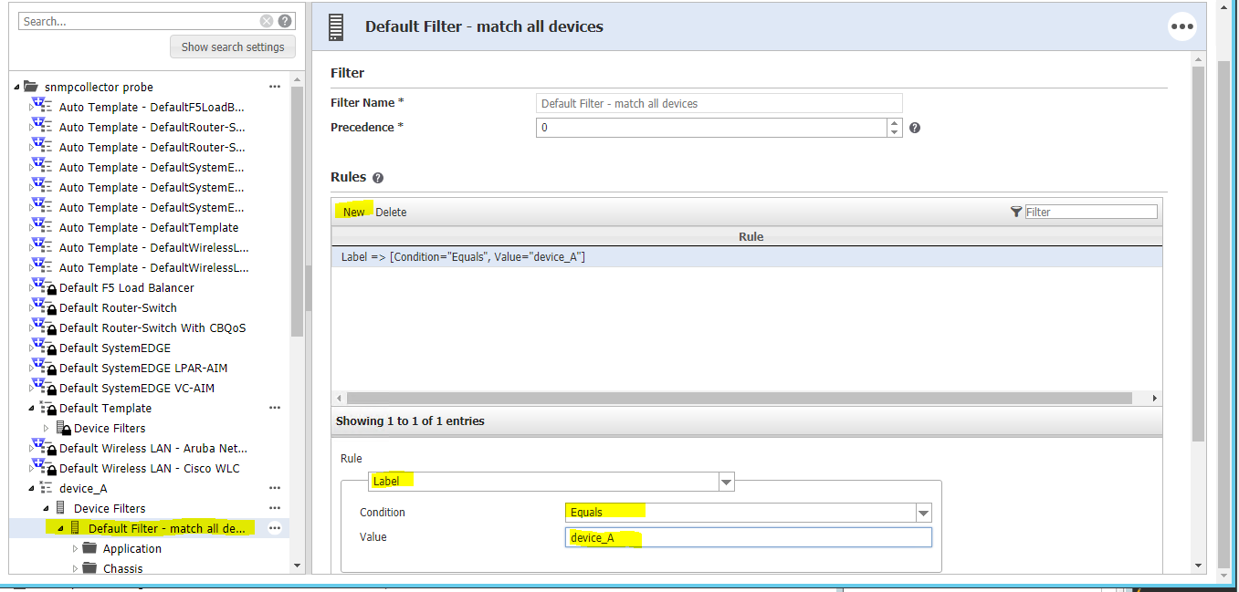 Screenshot of the snmpcollector template editor defining a filter at the device level