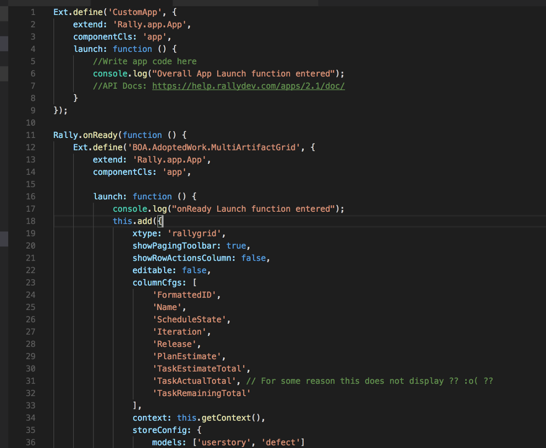 Section of code from App.js