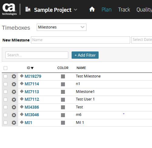 Sample Project Milestones