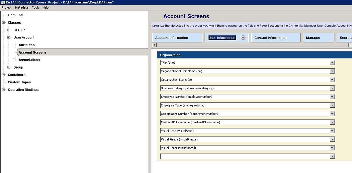Connector xPress Account Screen