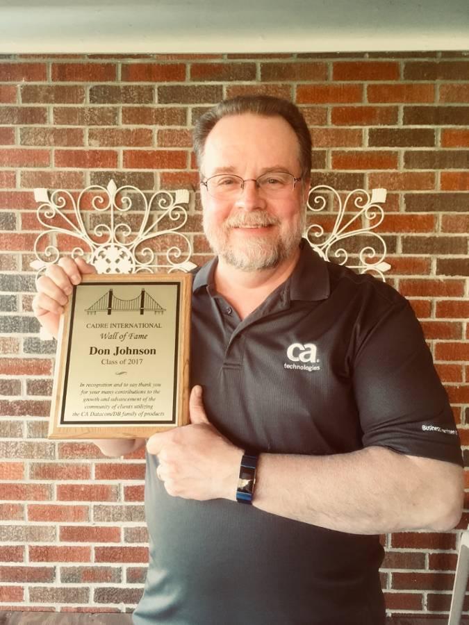 Don Johnson - CADRE Wall of Fame award