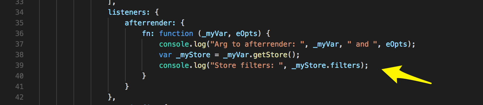 Debug print to console store config's filters.