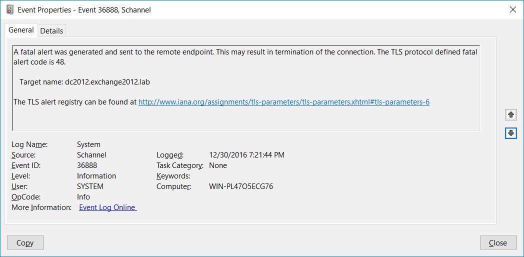 Increase ADS Schannel Logging to debug TLS certificates