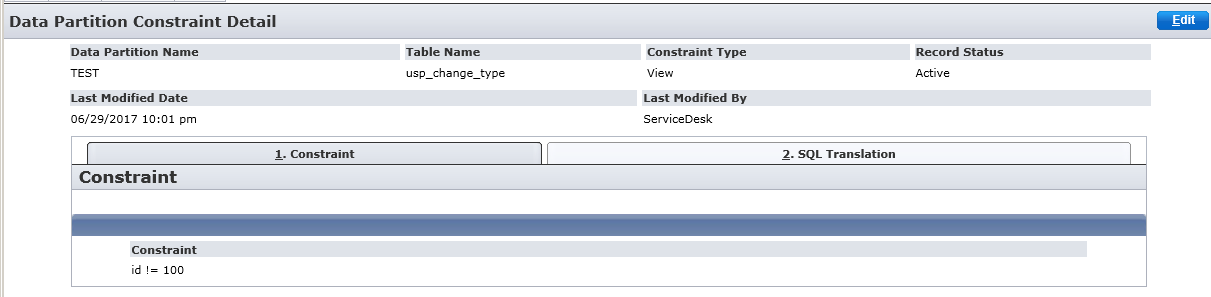 Screenshot of the View constraint detail