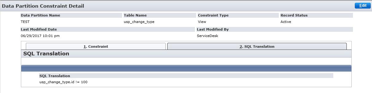 Screensot of View constraint - SQL Translation