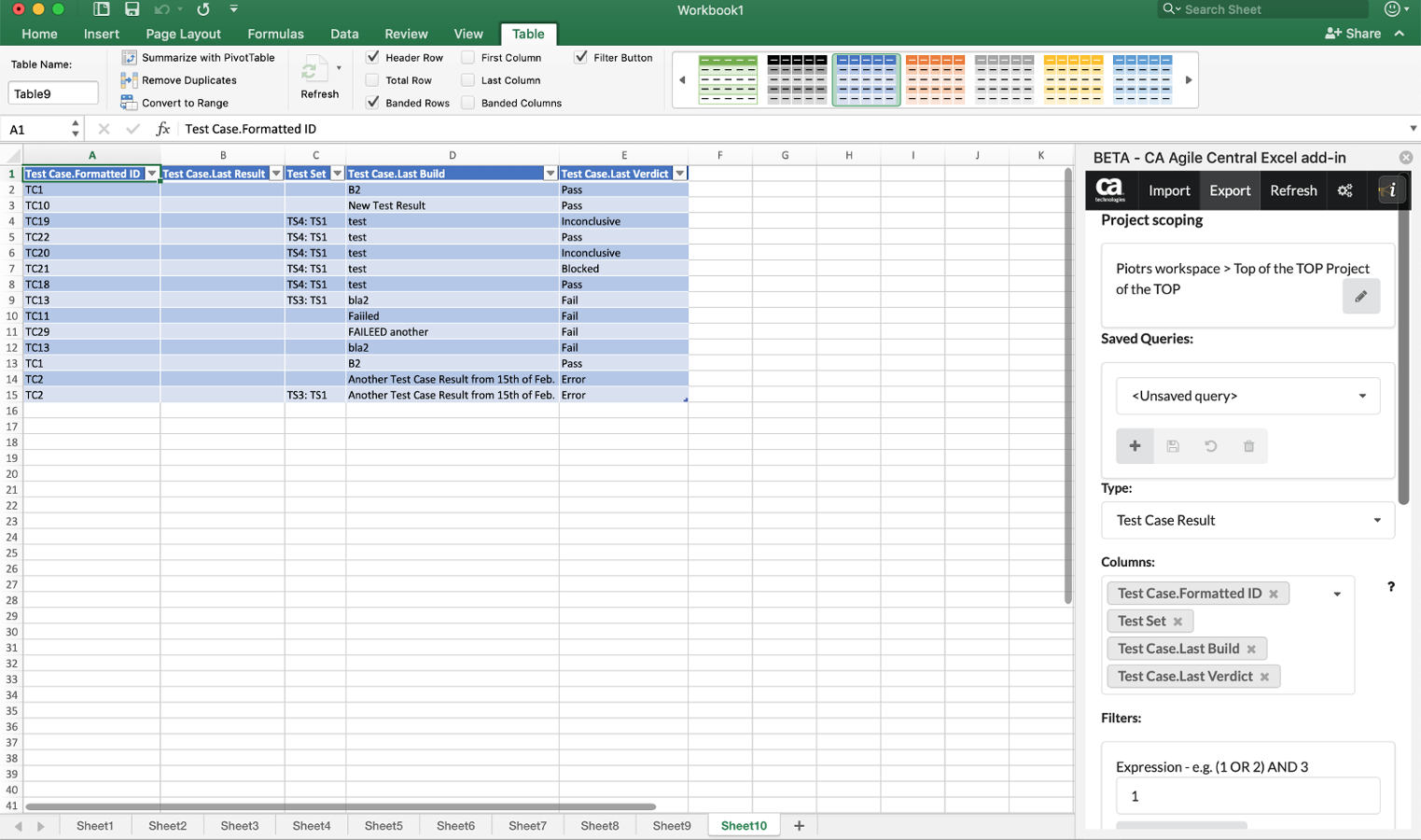 Excel Add-In Test Case Results output