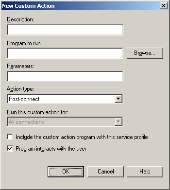 Figure 2: the New Custom Action dialog box