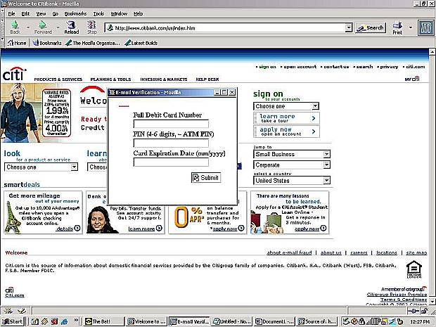 Figure 4: The third revision of the Citibank trojan login, from 25-Oct-2003.  A server in Moscow, Russia provides the popup but the main window actually is the Citibank home page.