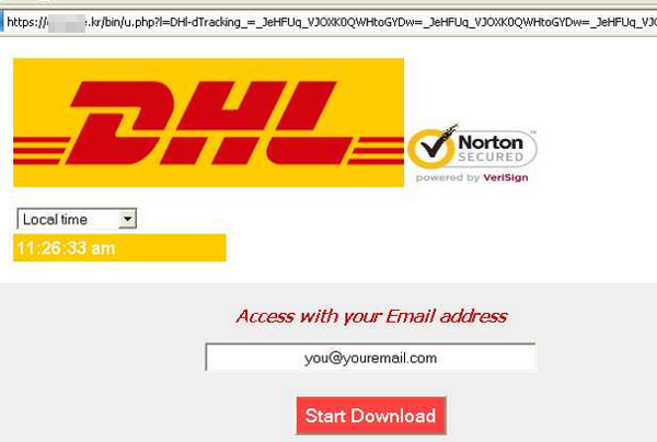 Fake DHL website for phishing