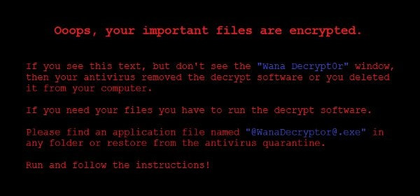 Wannacry ransom message