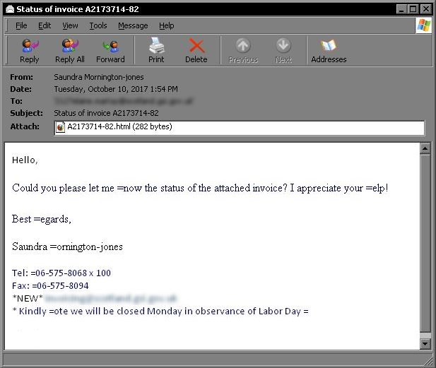 An example of Necurs spam email